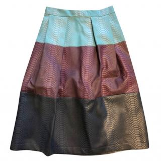 Eponine leather panelled midi skirt