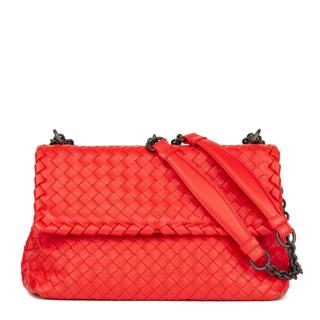 Bottega Veneta Vesuvius Red Woven Small Olimpia Bag