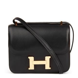 Hermes Black Swift Leather Mini Constance Bag