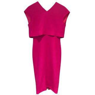 Victoria Beckham Magenta Double Crepe Dress