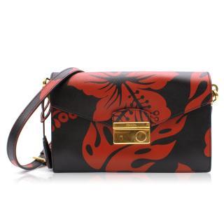 Prada Hibiscus Print Leather Strap Bag