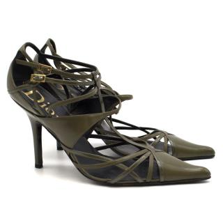Dior Green Leather & Patent Trim Strappy Pumps