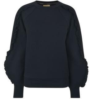 Burberry Navy Ruffled-Sleeve Sweater