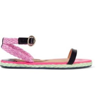 Sophia Webster patent leather and raffia sandals