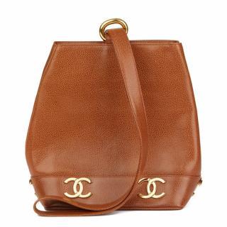 Chanel Brown Caviar Leather Vintage Bucket Bag