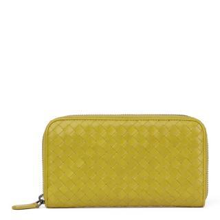Bottega Veneta Ancient Gold Leather Zip Around