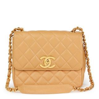 Chanel Beige Caviar Leather XL Classic Flap Bag