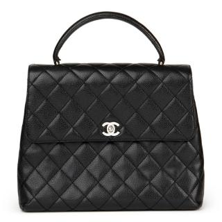 Chanel Black Caviar Leather VintageClassic Kelly Bag