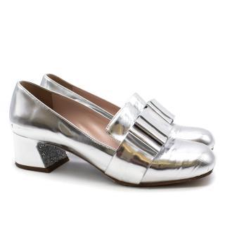 Miu Miu Metallic Leather Bow & Glitter-Heel Loafers