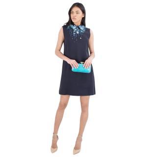 Miu Miu Cady A-line Embellished Bib Dress
