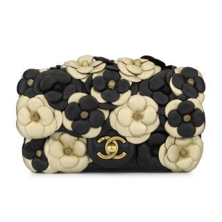 CHANEL Camellia Mini Bag Black/Gold Lambskin