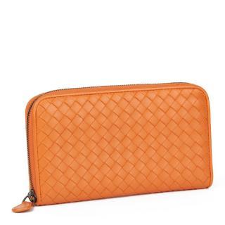 Bottega Veneta Woven Orange Calfskin Leather Zip Around Wallet