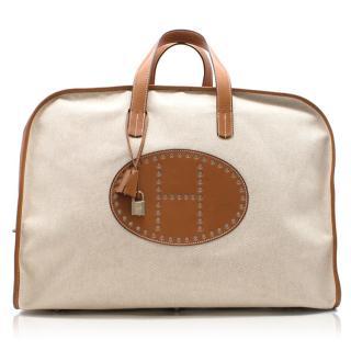 Hermes Toile and Barenia Leather XL Evelyne Travel Bag