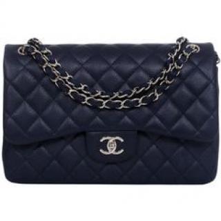 Chanel navy caviar leather jumbo double flap bag