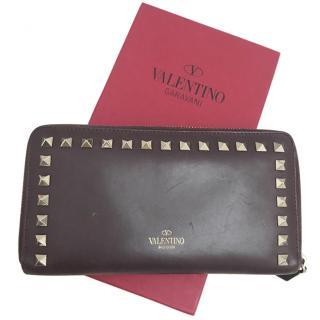 Valentino black Rockstud zip around wallet