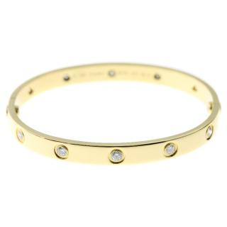 Cartier 10 Diamond Yellow Gold Love Bracelet