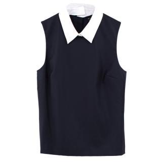 Theory black wool collar top