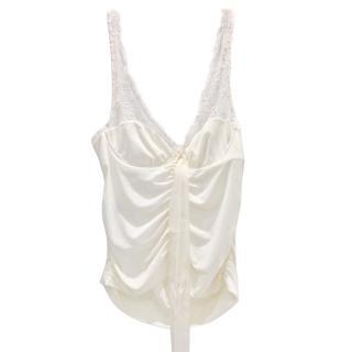 Ungaro Cream Lace Ruched Top