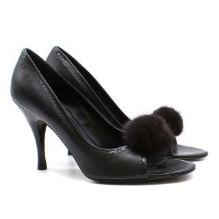 Fendi leather fur pom pom peep toe heels