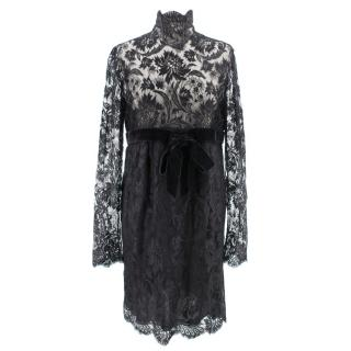 Valentino black lace long sleeved dress