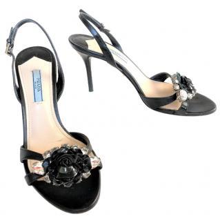PRADA flower & crystal-embellished  leather sandals