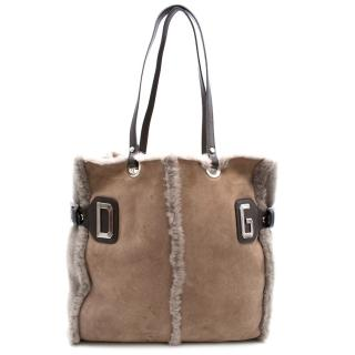 Dolce & Gabbana suede and fur tote bag