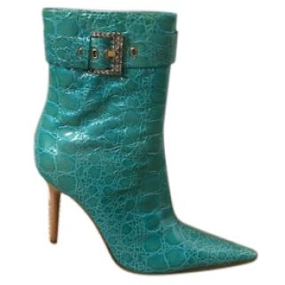Casadei blue leather patent ankle boots