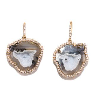 Kimberly McDonald Diamond, Gold and Geode Earrings