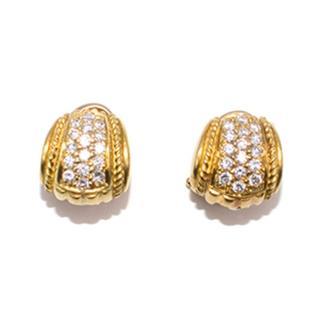 Judith Ripka 18-carat yellow gold pave diamond earrings