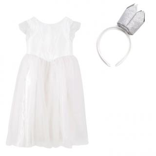 Jacadi Girls White Tulle and Glitter Dress with Crown Headband