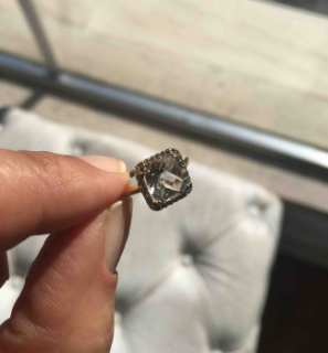 Gassan Quartz and Diamond halo ring