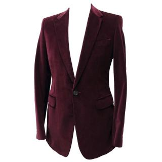Paul Smith Burgundy Velvet Slim Fit Blazer