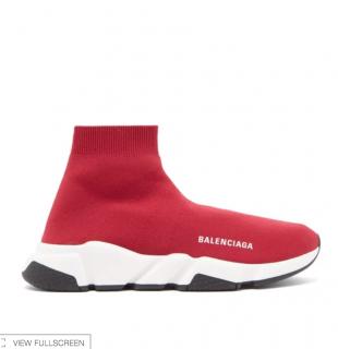 Balenciaga Rasberry Red Stretch Knit Speed Trainers