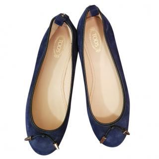 Tod's ballerinas in navy suede, UK size 5, European 38