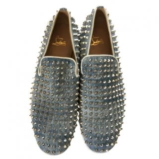 Louboutin men's spiked denim loafers