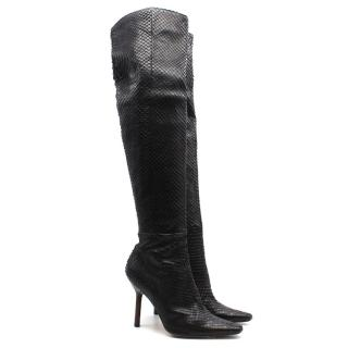 Gucci Python Over the Knee Black Boots