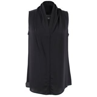 Theory black silk sleeveless top