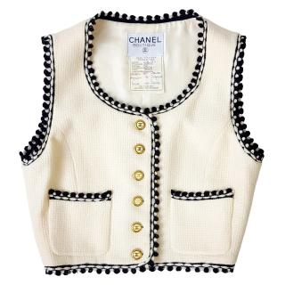 Chanel Boutique Vintage White Tweed Waistcoat