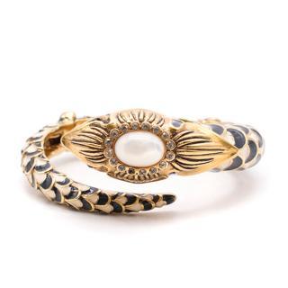 Roberto Cavalli gold snake wrap around bracelet