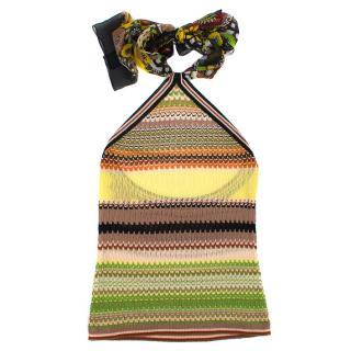 Missoni colour-block knit halterneck top