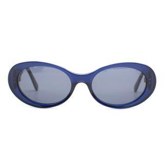 Salvatore Ferragamo Blue Frame Circular Sunglasses
