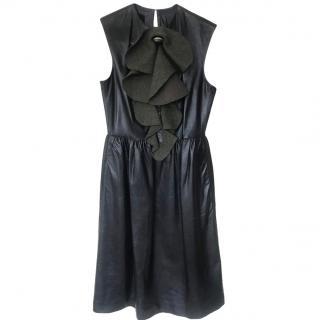 Fendi leather ruffle front dress