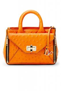 DvF Orange Mini Secret Agent Embossed Ostrich Tote with Zip Off clutch