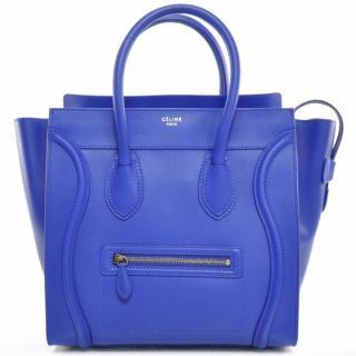 Celine Cobalt Blue Smooth Leather Mini Luggage Bag