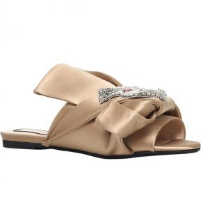 No 21 Bow And Cat-Embellished Satin Slippers