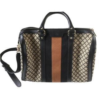 Gucci canvas boston web stripe bag
