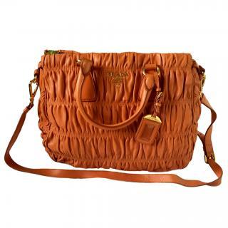 Prada ruched orange nappa gaufre BN1336 Bag