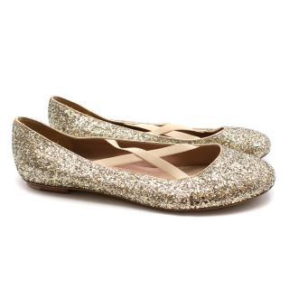 Marc Jacobs glitter ballet pumps