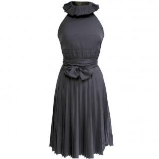 Paule Ka black taffeta pleated dress