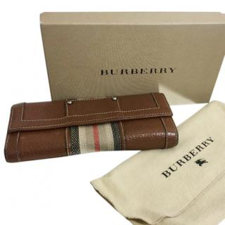 Burberry Leather and House Check Canvas Wallet